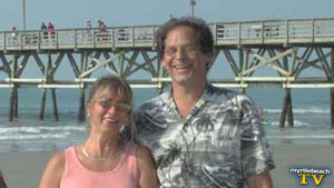 Warren and Marcia Lynn on location at the Cherry Grove Pier