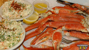 Crab legs and homemade coleslaw at Flos Place in Murrells Inlet