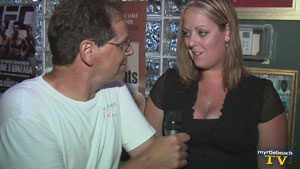 Warren of Myrtle Beach TV interviews Jennifer of Weekly Surge at Overtime Sports Cafe in North Myrtle Beach