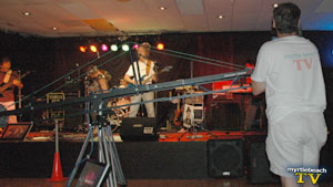 Warren catches the Sick Stooges with a Kessler Crane and monitor at The Venue in North Myrtle Beach
